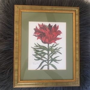 Other - LOVELY GOLD FRAMED RED FLORAL ART